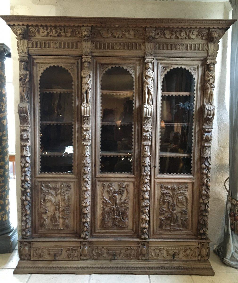 Bibliothèque En Chêne  De Style Renaissance, XIXème.