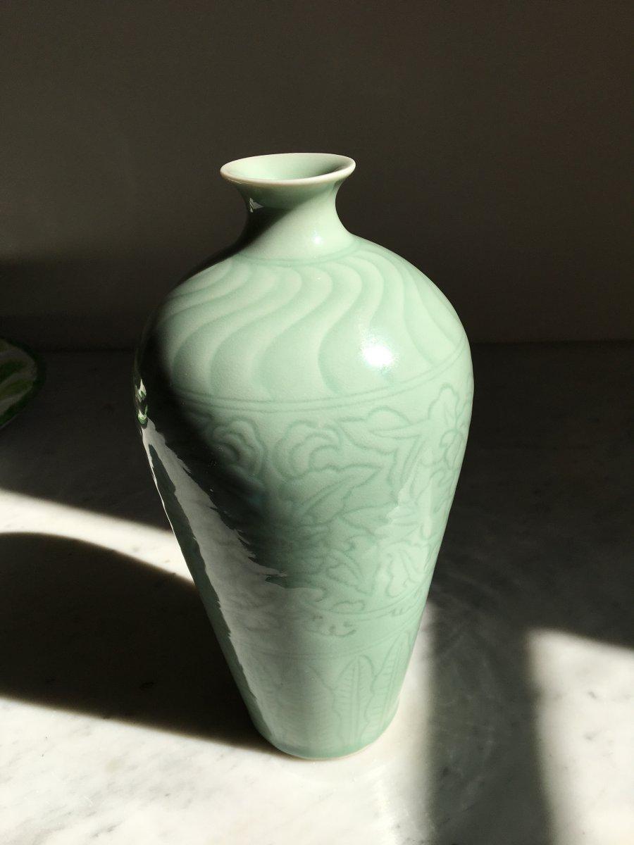 Vase En Porcelaine Céladon - Chine -xxème