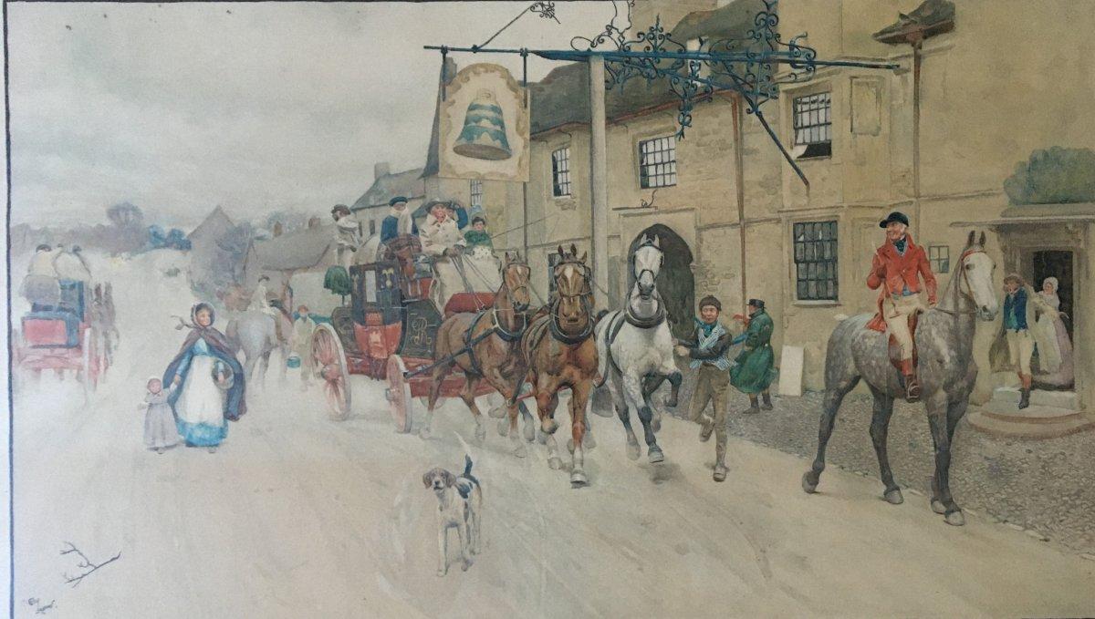 Estampe : The Bell At Stilton - Cecil Aldin