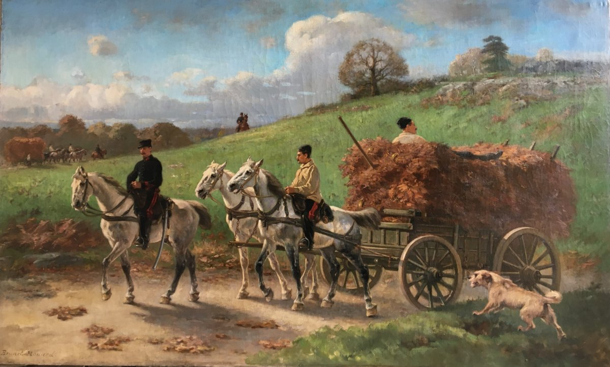 Artillery Cart Returning From The Forage Chore - Pierre Auguste Brunet-houard
