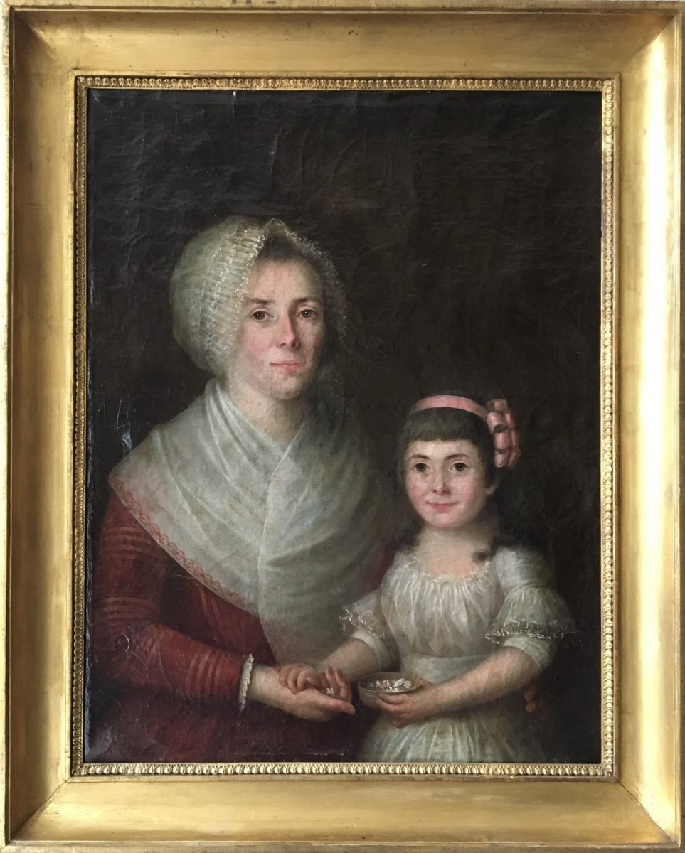 Portrait Of Woman And Her Child - Early XIXth