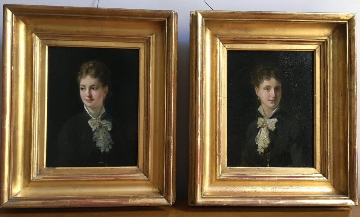 Pair Of Portraits Of Woman - Charles Pecrus (1826 - 1907)