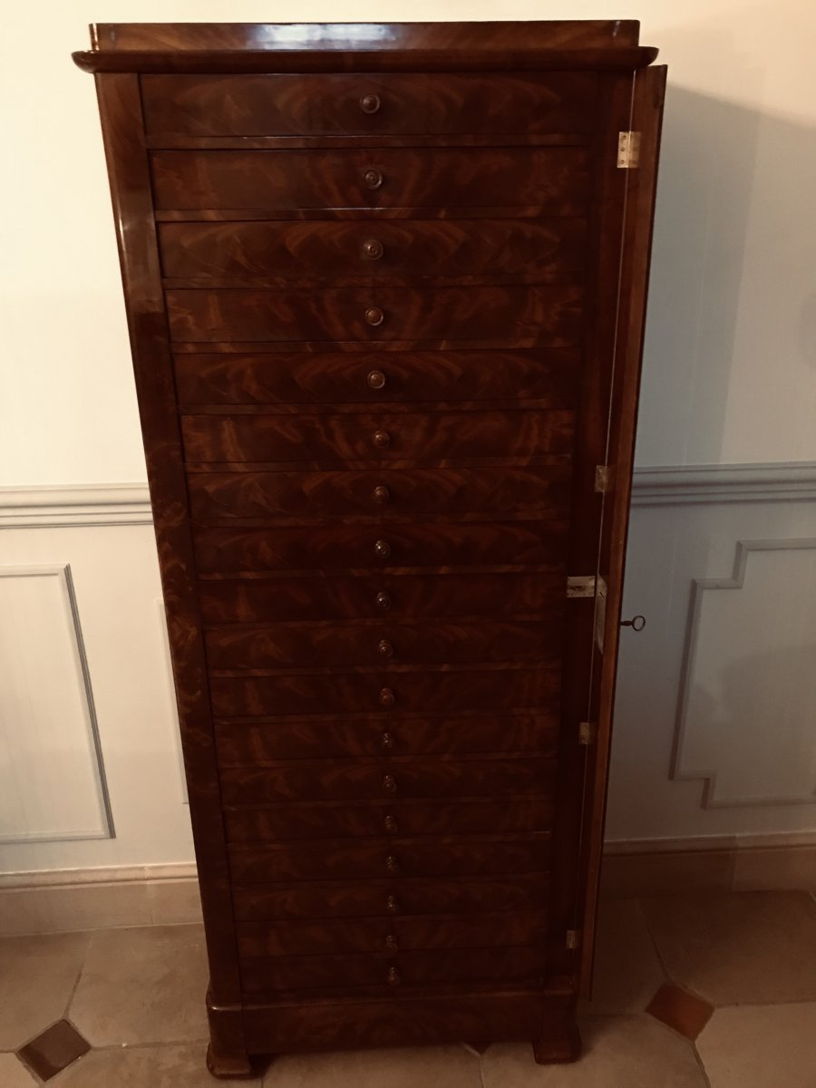 Furniture With Drawers, Mahogany - XIXth