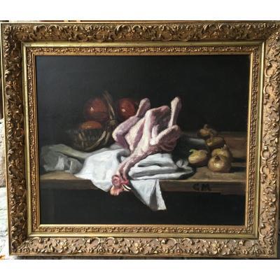 Nature Morte Au Poulet - XIXème