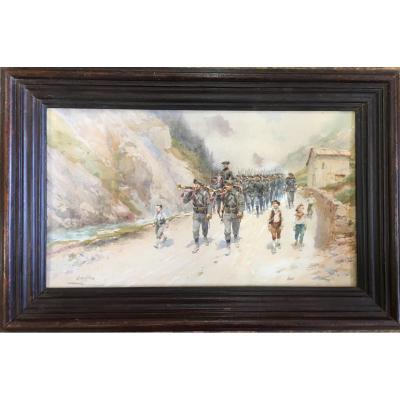 Watercolor: Chasseurs Alpin S - Pierre Comba