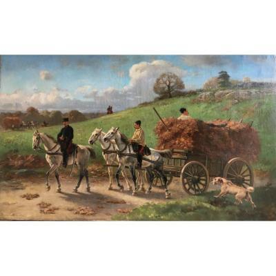 Charrette d'Artillerie Revenant De La Corvée De Fourrage - Pierre Auguste Brunet-Houard