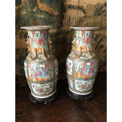 Pair Of Chinese Porcelain Vases - XIXth