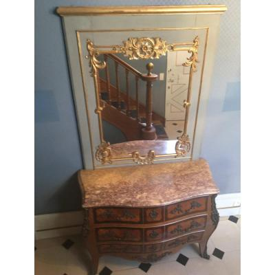 Patina And Golden Woodwork Mirror