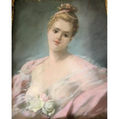 Pastel : Portrait d'élégante - 1900