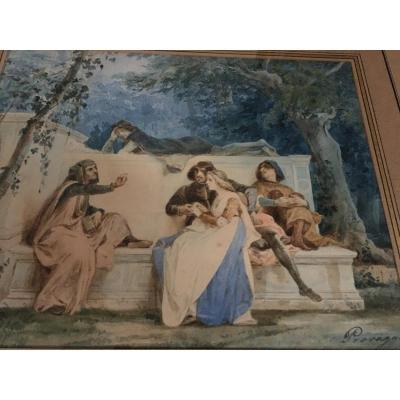 Aquarelle - Cesare Provaggi - XIXème