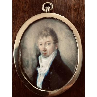 Miniature On Ivory - Portrait Of A Man - XIXth