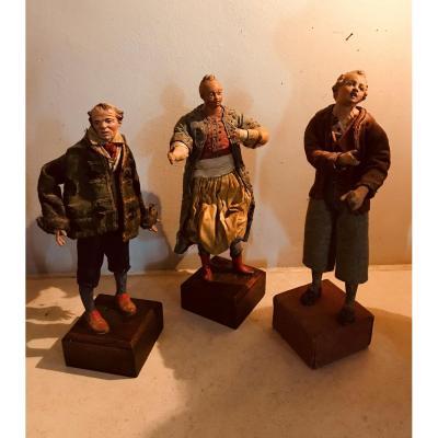 Trois Santons Napolitains En Terre Cuite - Début XIXème