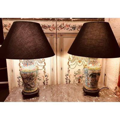 Pair Of Chinese Porcelain Lamps - XIXth.