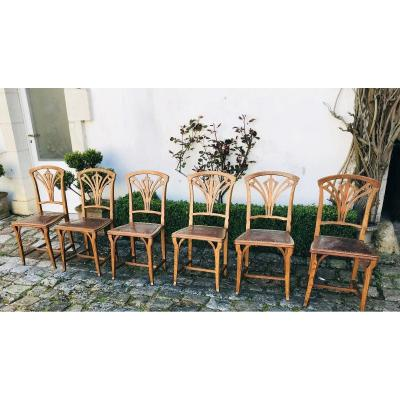 Suite Of 6 Art Nouveau Chairs In Ash
