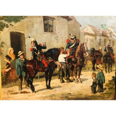 Halte De Dragons Dans Un Village - Auguste Gardanne.