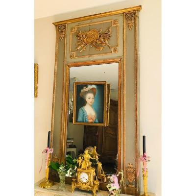 Louis XVI Lacquered And Gilded Trumeau