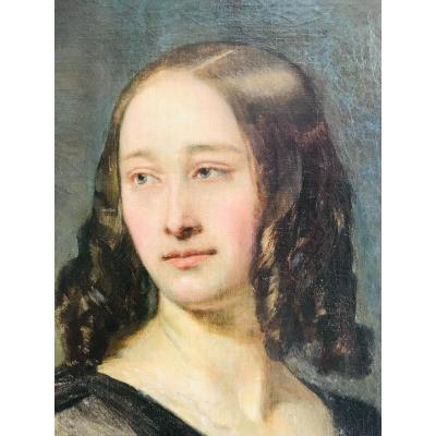 Portrait De Femme En Buste  XIXème - Victor Mottez