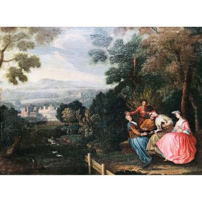 Scène Galante - Entourage De Jean Baptiste Joseph Pater - XVIIIème.