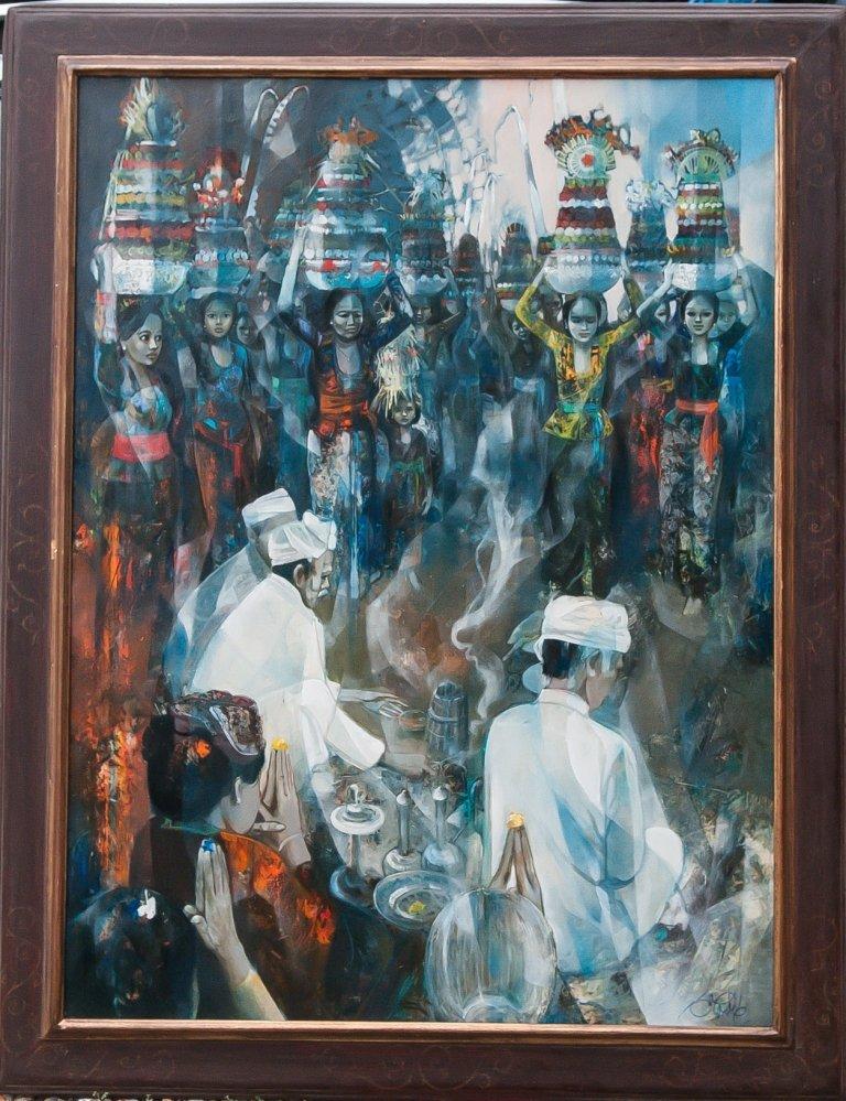 Valadier Jean-baptiste 1933   Les Offrandes à Bali   Très Grand Tableau 130 X 97 Cm
