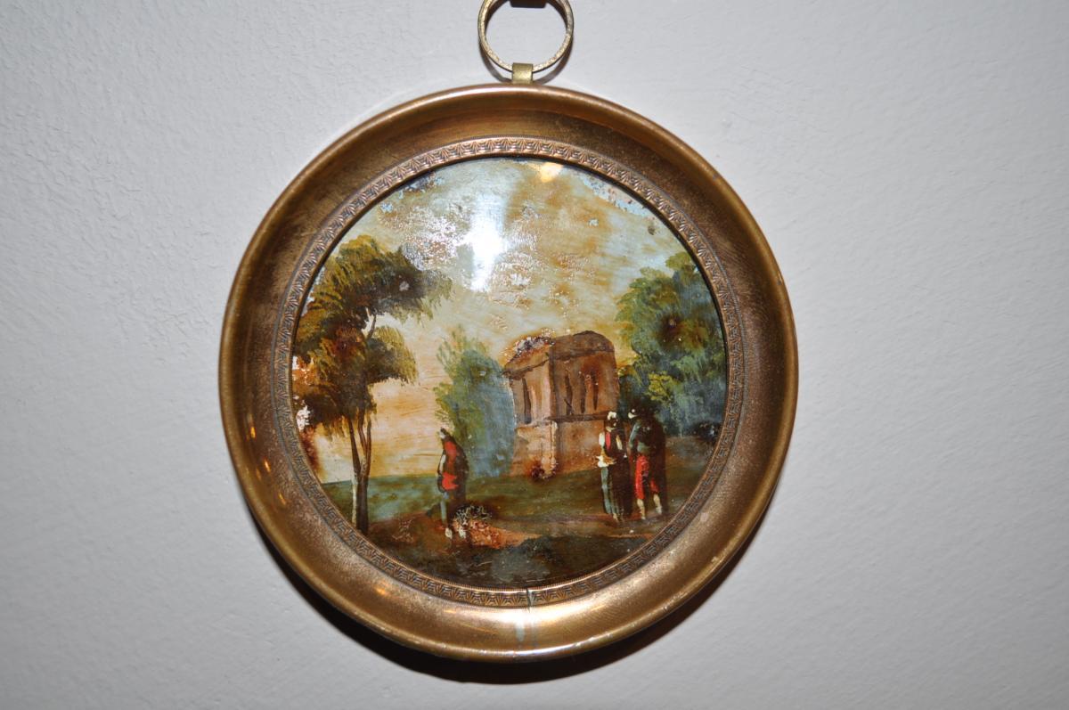 Petite Peinture Sous Verre En Miniature époque Début 19 ème Paysage Animé