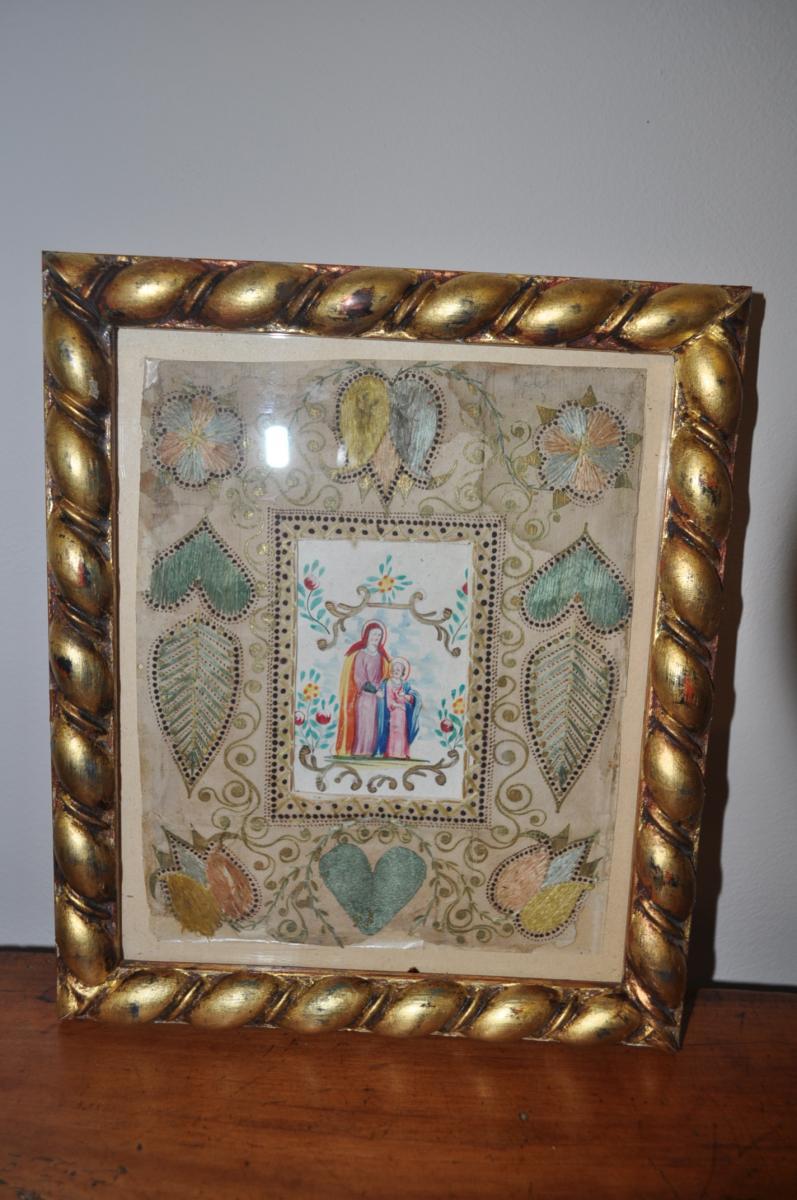 Image Pieuse Ancienne La Vierge Epoque 19 ème Aquarelle