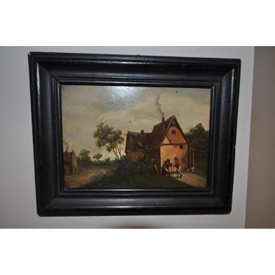Painting Oil On Wood Period 19th Landscape Framed