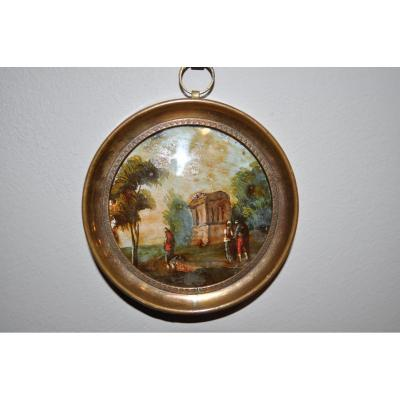 Small Painting Under Glass In Miniature Early 19th Time Animated Landscape