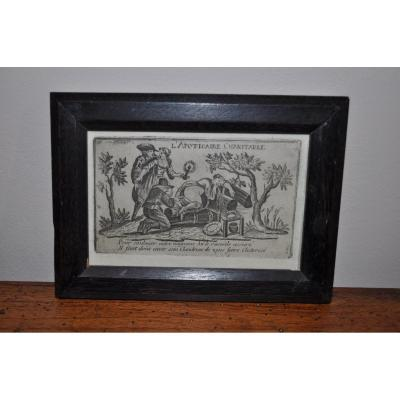 "Small Licencious Engraving Late 17th Time ""the Charitable Apothecary! ..."""