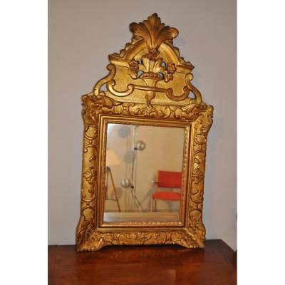 Mirror Old Gilded Wood Fronton 18th Time Ice Regence