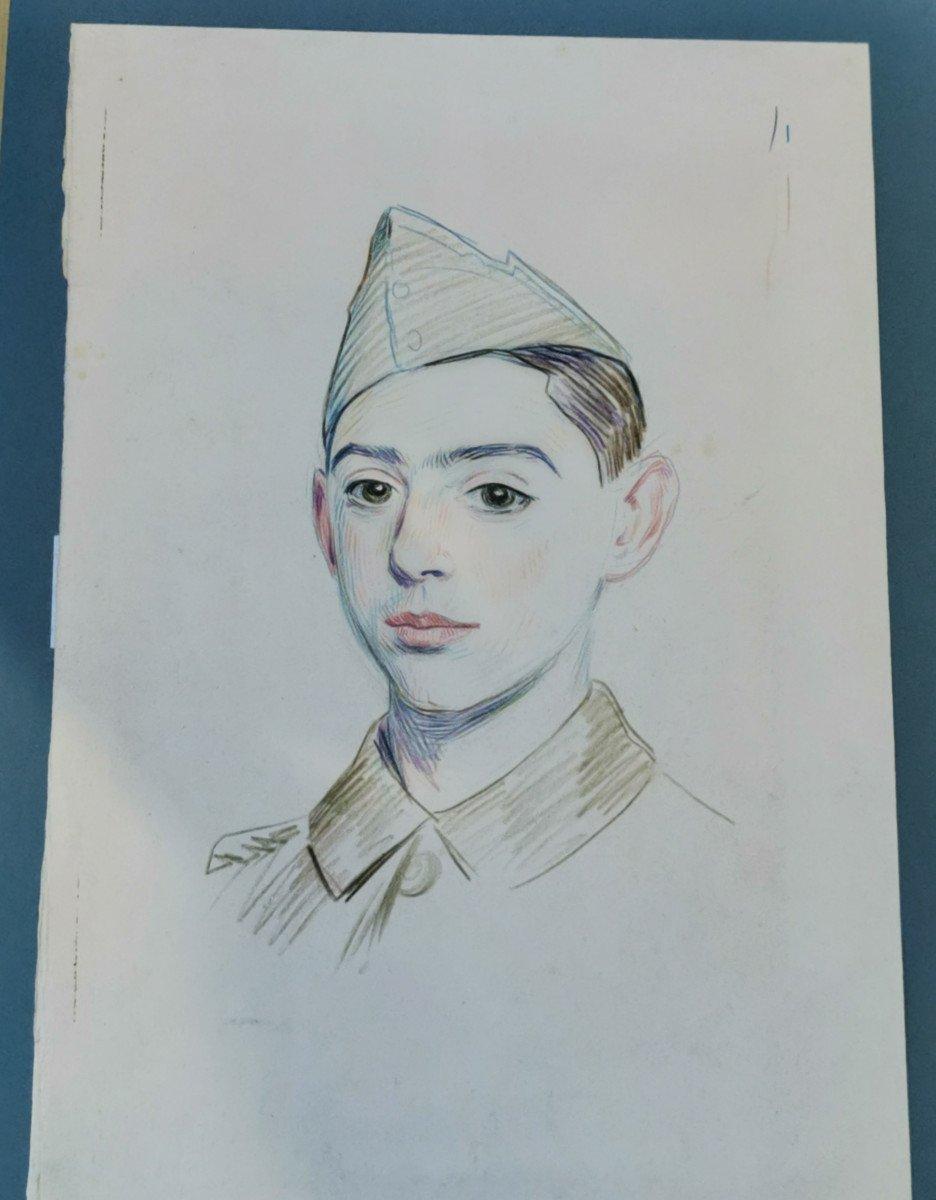 Hermann-paul  , René Georges (1864-1940) Portrait De Jeune Soldat-photo-2