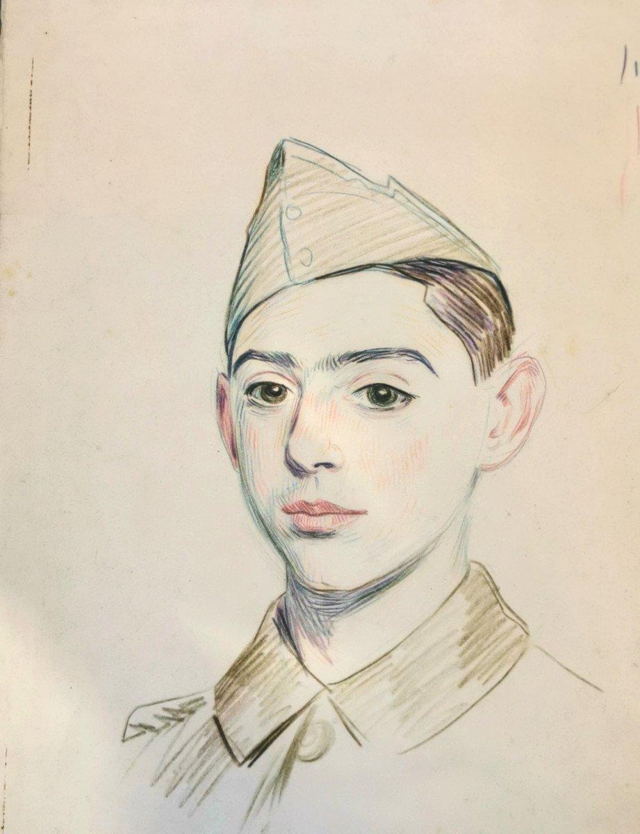 Hermann-paul  , René Georges (1864-1940) Portrait De Jeune Soldat