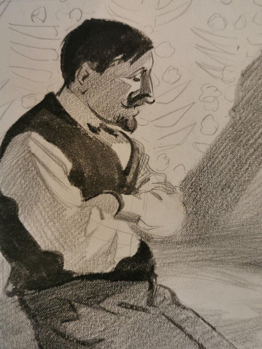 HERMANN-PAUL  , René Georges (1864-1940) Conversation du soir au bord du lit-photo-2