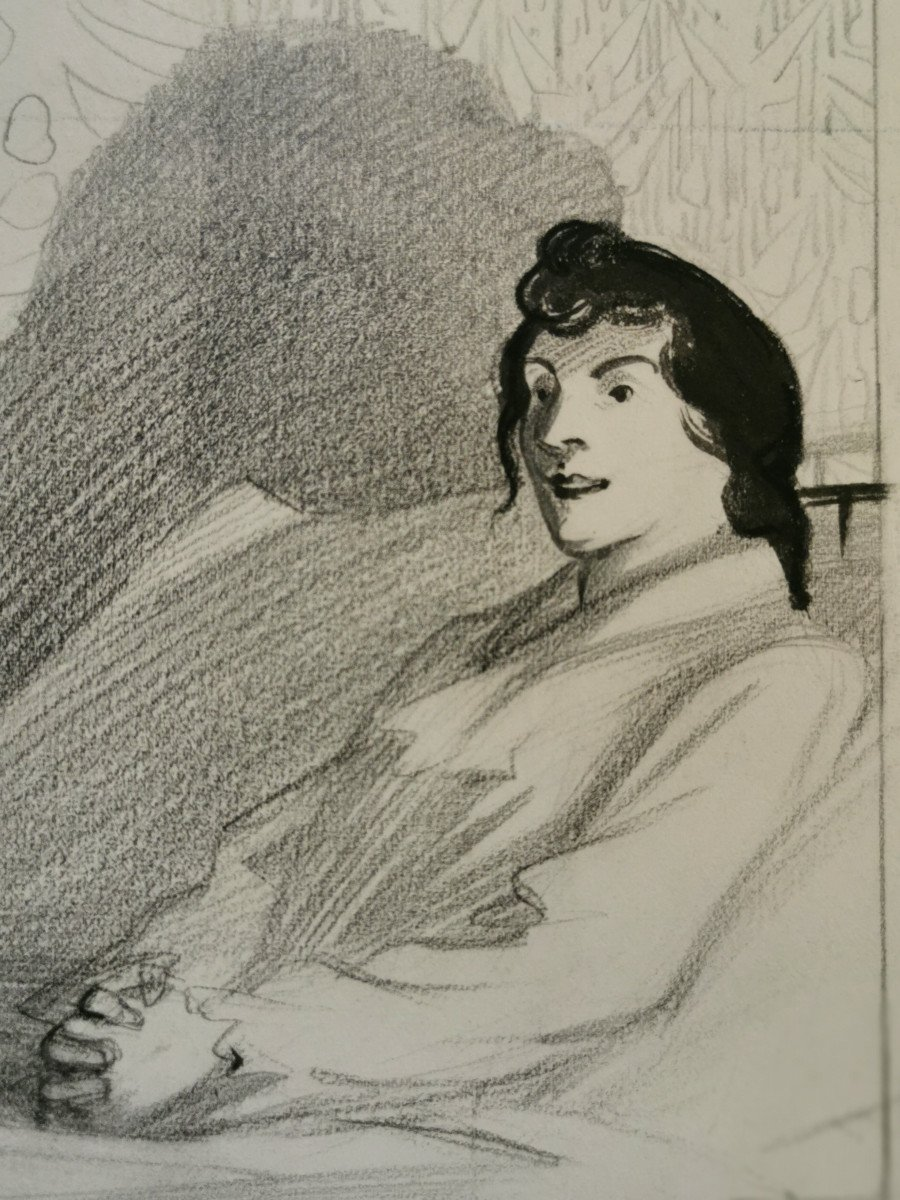HERMANN-PAUL  , René Georges (1864-1940) Conversation du soir au bord du lit-photo-3
