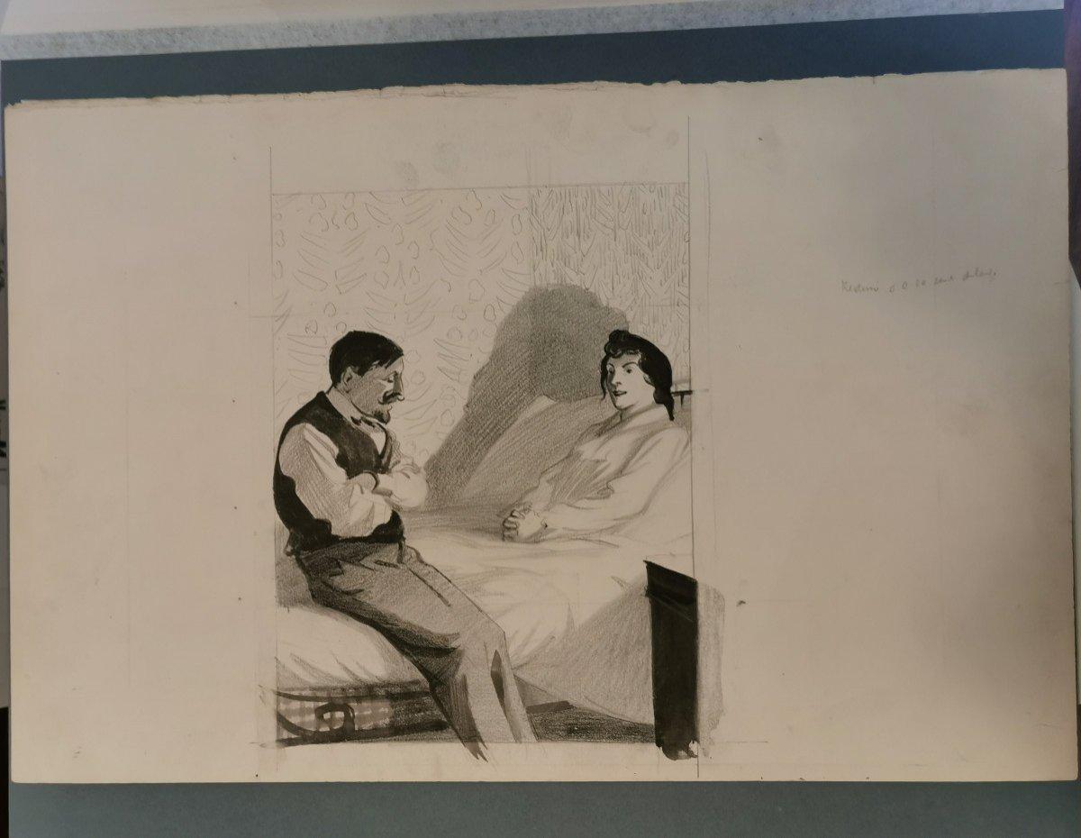 HERMANN-PAUL  , René Georges (1864-1940) Conversation du soir au bord du lit-photo-4