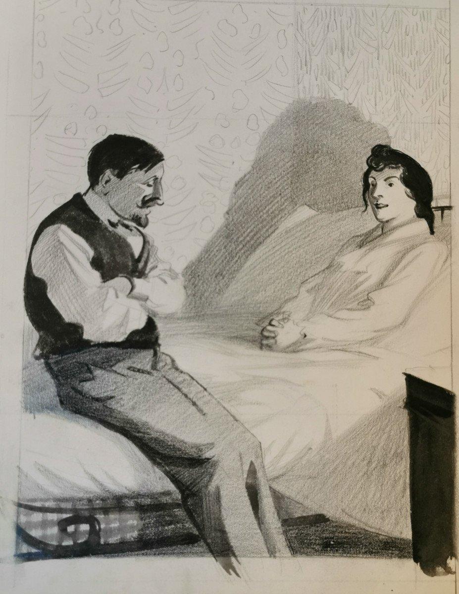 HERMANN-PAUL  , René Georges (1864-1940) Conversation du soir au bord du lit