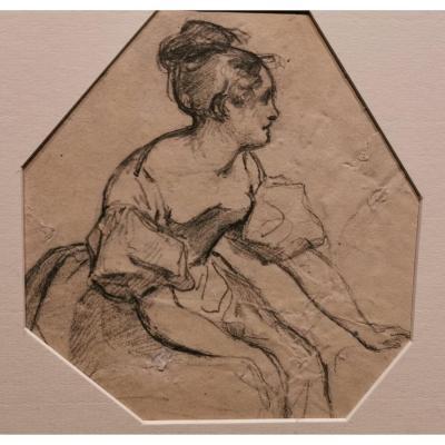 Hippolyte POTERLET (1803-1835) Dessin , Jeune Fille, à La Mine De Plomb Au Format Irrégulier