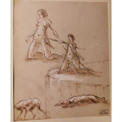Study Of Diane The Huntress And Her Dogs Drawn By Ary Bitter (1883-1973)