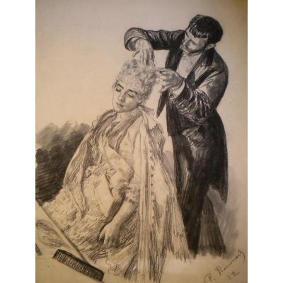 RENOUARD Paul ( 1845-1924 ) SUITE DE ' 4 DESSSINS : DANS LA LOGE DE L'OPERA GARNIER