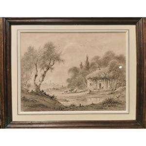 Defer Jules (1803-1902) Landscape With Thatched Cottage, Cattle Pond And Village In The Background
