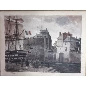 ALAUX Gustave (1887-1965) Dépat sur les quais du Havre