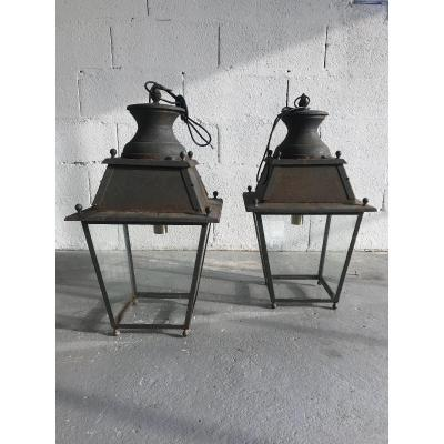 Pair Of Lanterns To Hang In Gray Iron XIX