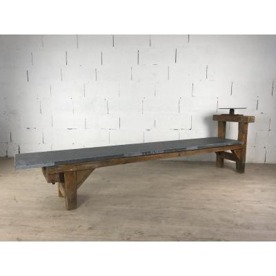 Large Blue Stone Pottery Table