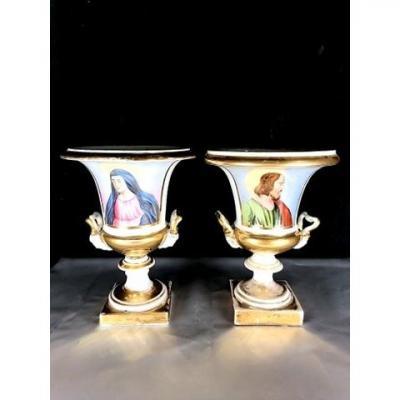 Vases Medicis Porcelaine Vieux Paris