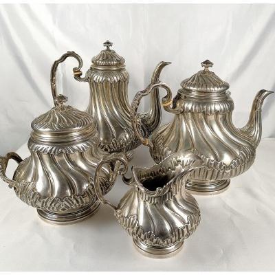 Tea And Coffee Service Sterling Silver L.lapar Paris Twentieth Century