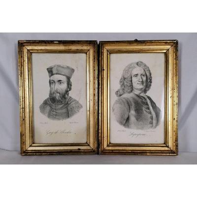 Pair Of Surgeon Lithograph In Golden Frames Nineteenth Time