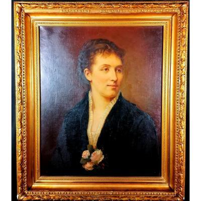 Tableau Portrait Femme Jules De Lacger 1881