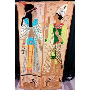 Paire Tentures égyptiennes Style Empire XXème Siécle
