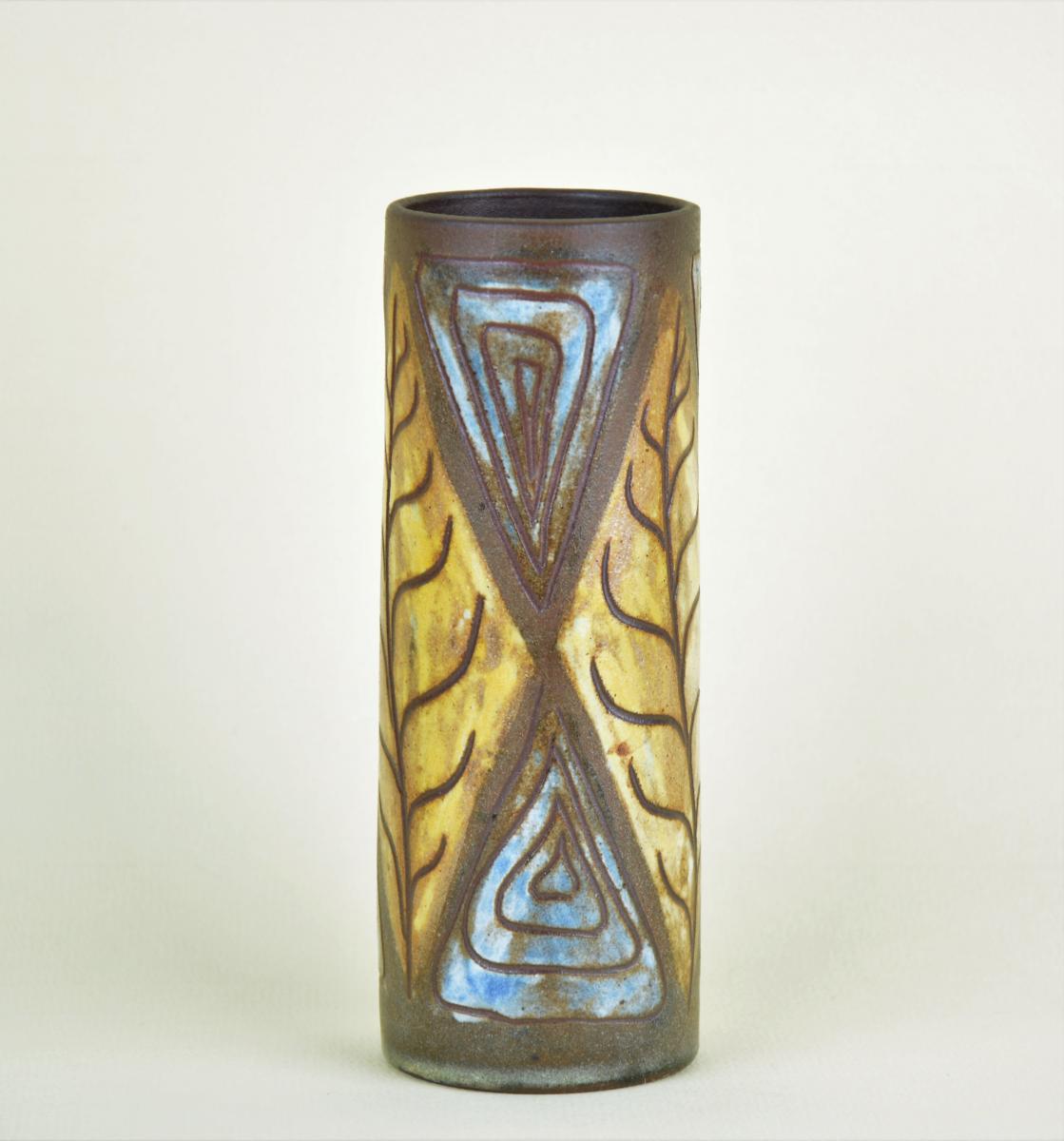 Alexandre Kostanda, Vase à Décor De Feuille Stylisée Et Géométrie