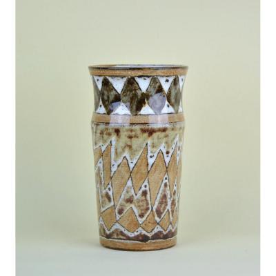Atelier Du Vieux Moulin, Vase à Décor Géométrique