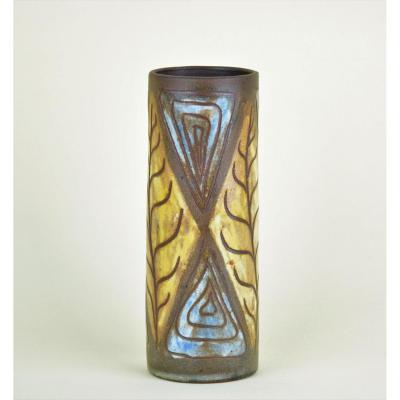 Alexandre Kostanda, Vase With Stylized Leaf Decor And Geometry